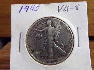 1945 WAlKING lIBERTY HAlF DOllAR VG8