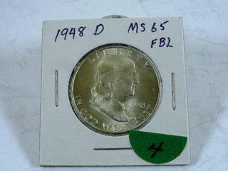 1948 D Franklin Half Dollar  MS65