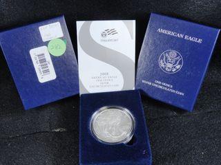 2008 W Amer  Silver Eagle Dollar  UNC