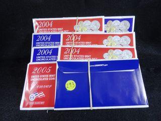3  2004 P D    1  2005 P D Mint Sets  UNC  x4