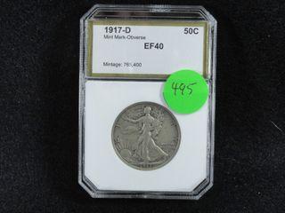 1917 D liberty Half Dollar  EF40