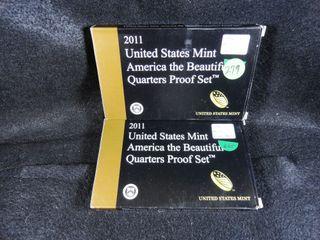 2  2011 S Amer  the Beautiful Quarters  Proof  x2