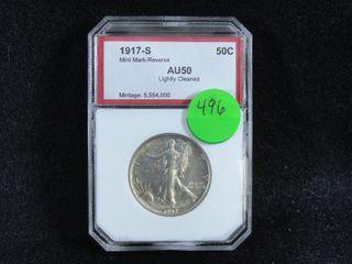 1917 S liberty Half Dollar  AU50