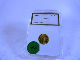 1905 liberty  2 50 Gold Piece  MS62