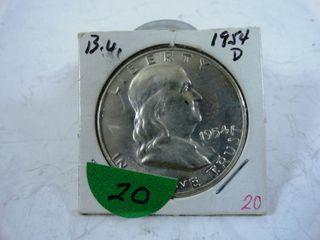 1954 D Franklin Half Dollar  BU