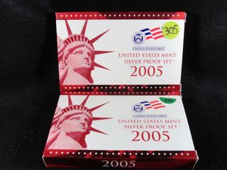 2  2005 S Silver Proof Sets  x2