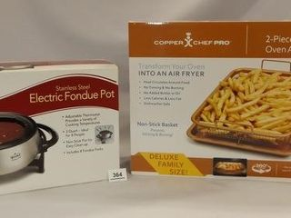 Electric Fondue Pot  Air Fryer Pan Set
