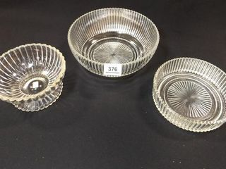 Glass Ribbed Bowls  3  9  7  6