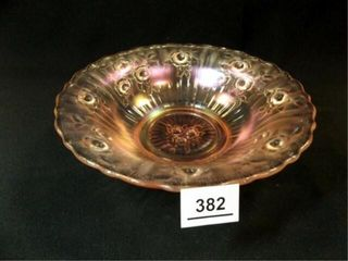 Carnival Glass Bowl  Pink Tones  91 2