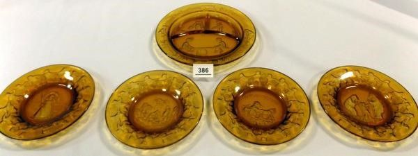 Glass Amber Children s Plates  5