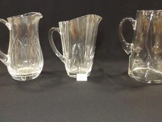 Glass Pitchers  3  likely Crystal