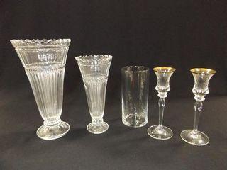 Glass Vases  3  Candleholders  2