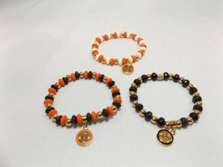Rustic Cuff Orange Black Beaded Bracelets  3