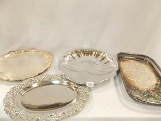 Silverplate  Silver Tone Trays  4