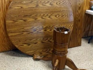Wood Table  Pedestal Base  One leaf