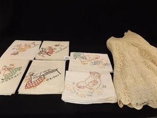 Embroidered Tea Towels  6  Crocheted Skirt