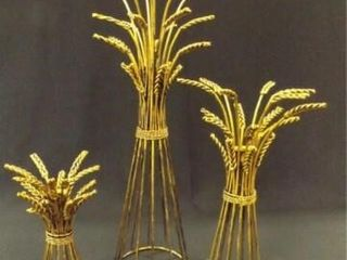 Metal Wheat Candleholder Set  3