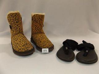 Ugg Boots Size 8W  Sanuk Black Flip Flops