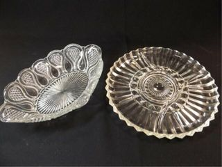 Glass Relish Plate  Oval Bowl