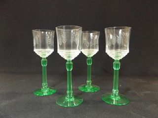 Glass Stemware  Green Base  4
