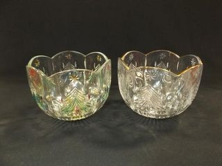 Mikasa Glass Christmas Tree Bowls  2