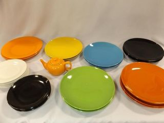 Plates  Multi Color  two sizes  Teapot  20