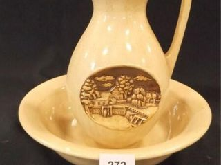 Ceramic Bowl  Pitcher  marked C B   82