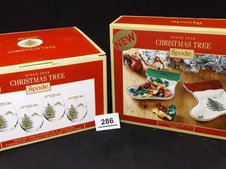 Spode Christmas Tree Dishes  Glasses