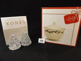 lenox Treat Jar  Christmas Tree S   P