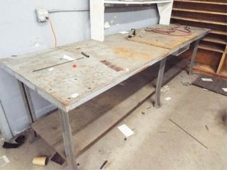 Metal frame wooden top table