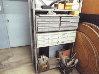 Metal Shelving with 24 bolt bins