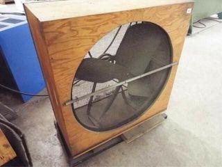 Wooden frame box fan on rollers