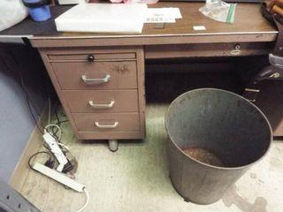 Metal Desk   Trash Can