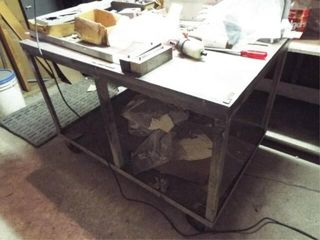 Heavy metal Rolling Cart with contents
