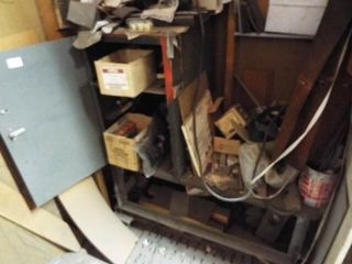 Small Metal cart  cabinet and all contents on it
