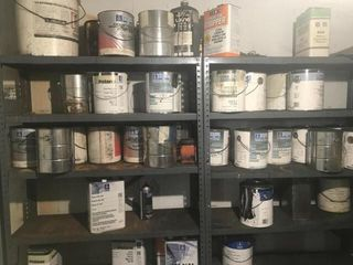 5 Metal Shelves gallon cans assorted cans paint