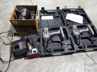 3 EA 3 8  Cordless Drills w batteries and charger