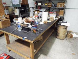 2 ea  metal shelves and wood table
