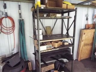 Metal shelf and contents