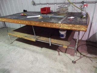 Metal pipe wooden top table