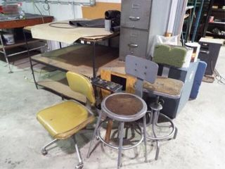 Metal table  filing cabinet and 3 chairs