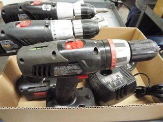 3 ea battery operated cordless drill   flashlight