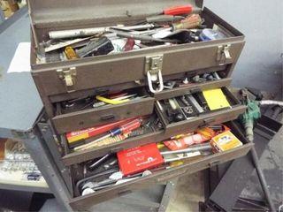 2   metal tool boxes 1 w  tap and die