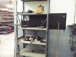 Metal shelf  6 shelves  and contents