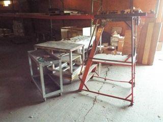 2 Metal rolling carts  1 metal steps