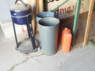 Grill  trash  cans and fuel can