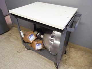 Rolling Cart with flood light assembly