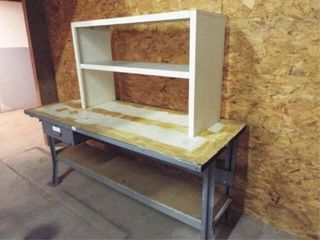 Metal Table with Electric Box  Wood Shelf