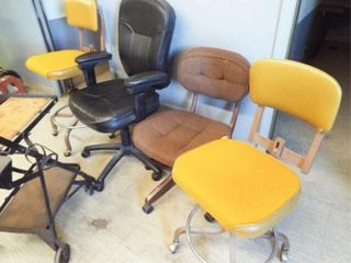 Metal Cart and 4 assorted office chairs
