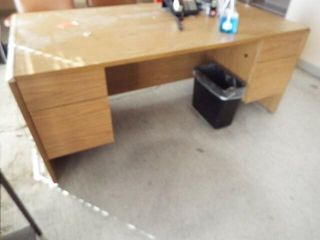 Wooden desk with 3 Chairs